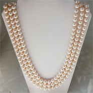 8 mm Triple Strand Pearl Necklace