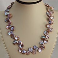 Keshi 14 X 17 mm Pearl Necklace with Sterling Clasp (3 Colors to choose)