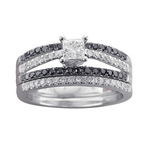 7/8 CT. TW. BLACK AND WHITE DIAMOND WEDDING SET IN 14K WHITE GOLD - Isabella Prada & Co., Inc. - 1
