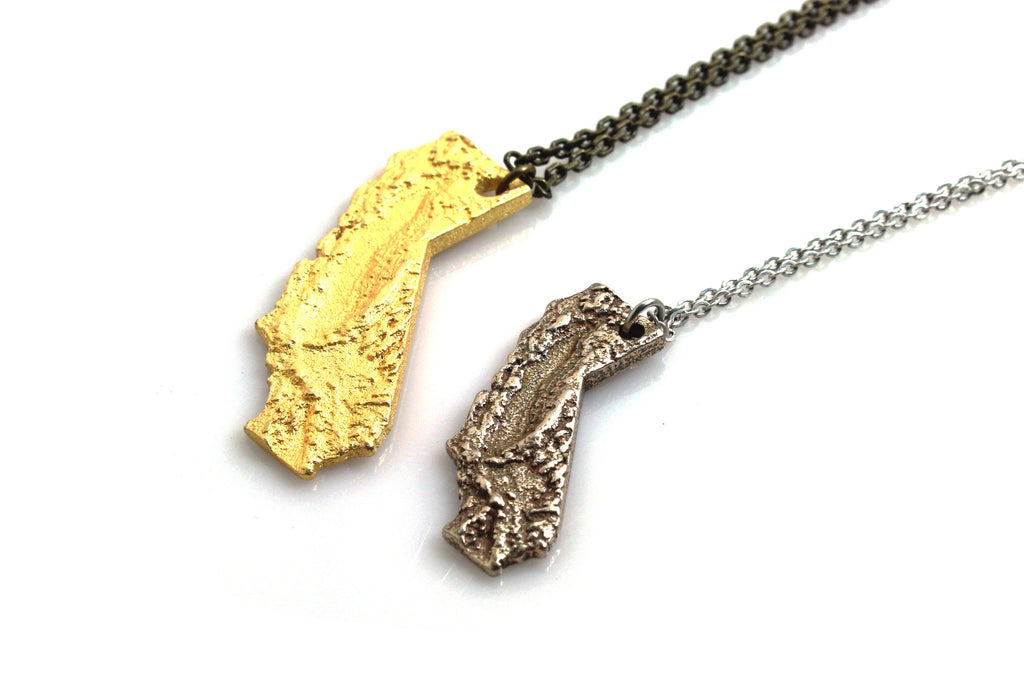 Small California Topography Necklace - Steel - Free For Mind