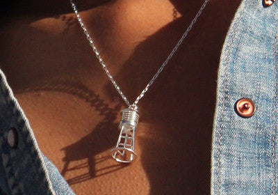 Water Tower Necklace - Sterling Silver - Free For Mind - 1