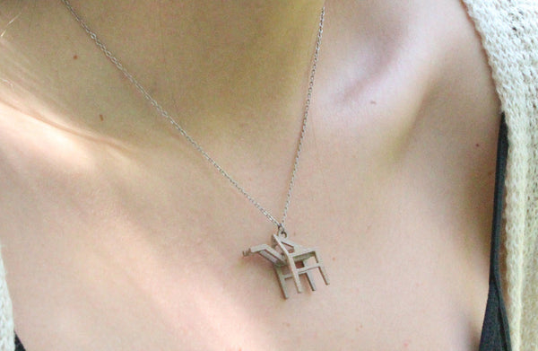Shipping Crane Necklace - Steel - Free For Mind - 1