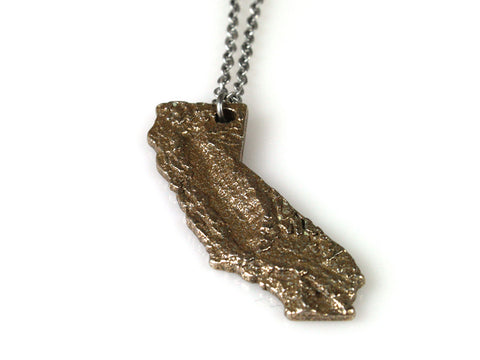 Large California Topography Necklace - Steel - Free For Mind