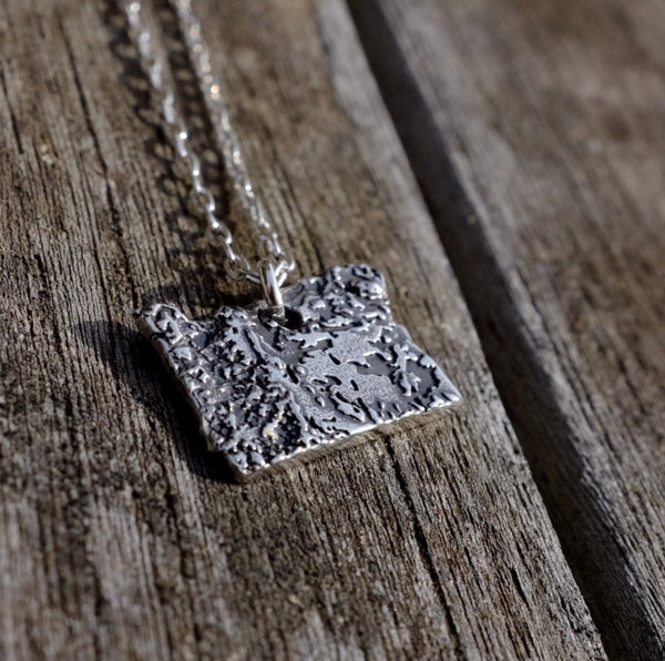 Oregon Topography Necklace - Sterling Silver - Free For Mind - 2
