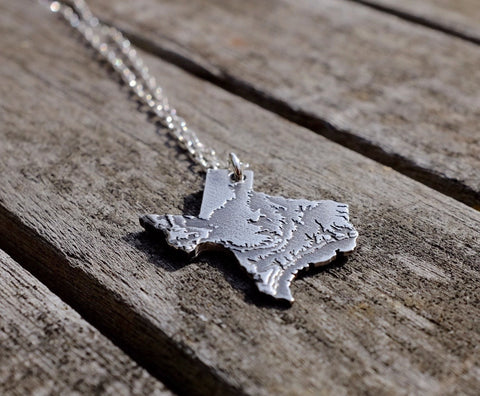 Texas Topography Necklace - Sterling Silver - Free For Mind - 1