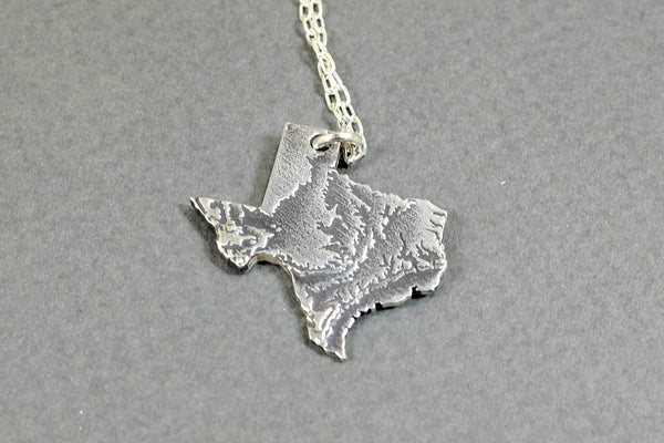 Texas Topography Necklace - Sterling Silver - Free For Mind - 2