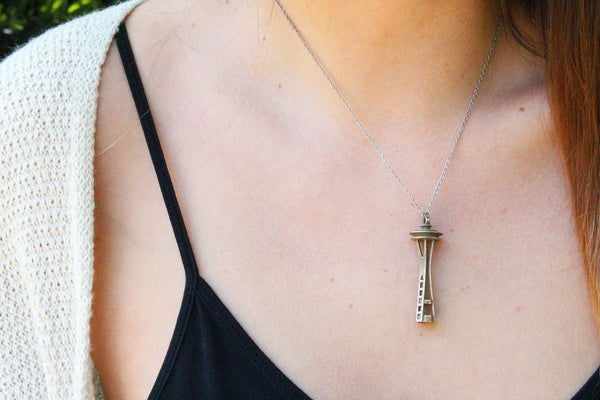Space Needle Necklace - Steel - Free For Mind - 1