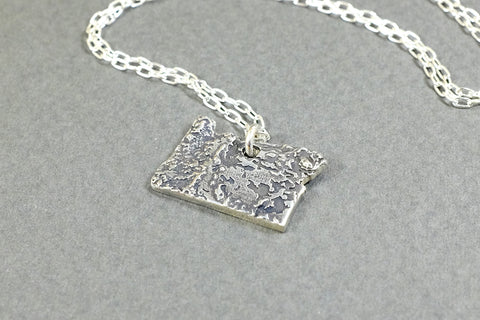 Oregon Topography Necklace - Sterling Silver - Free For Mind - 1