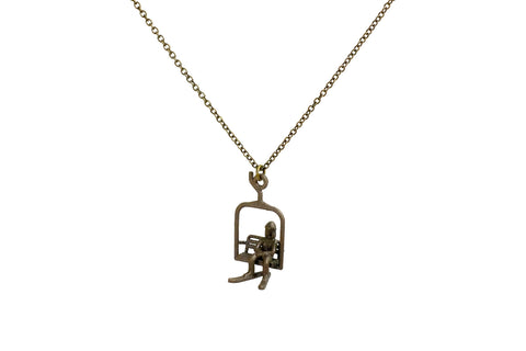 Ski Lift Necklace with Female Skier - Steel - Free For Mind