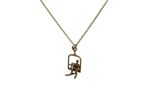 Ski Lift Necklace with Male Skier - Steel - Free For Mind