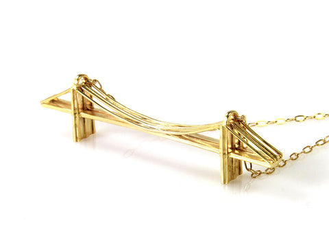 Brooklyn Bridge Necklace- Gold-Plated Brass - Free For Mind