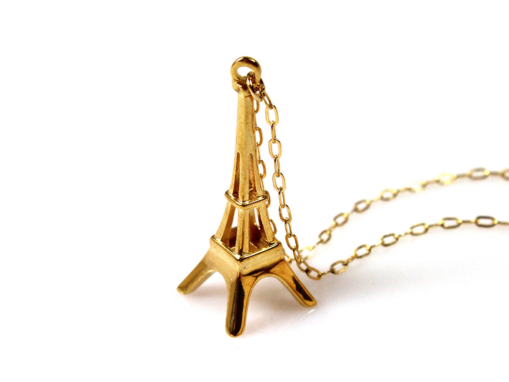 Eiffel Tower Necklace - Gold Plated Brass - Free For Mind