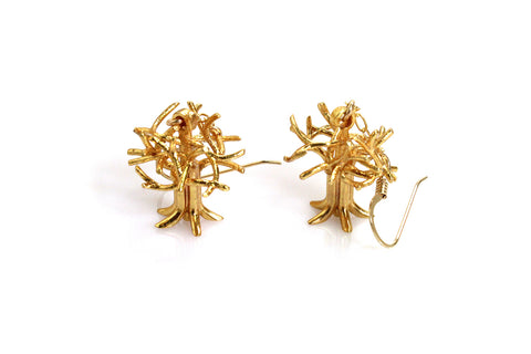 Oakland Tree Earrings - Gold Plated Brass - Free For Mind