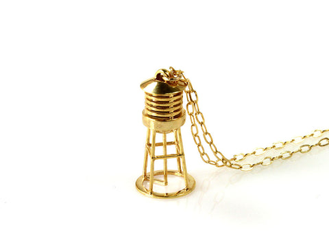 Water Tower Necklace - Gold Plated Brass - Free For Mind