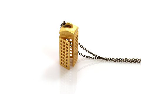 Phone Booth Necklace - Steel - Free For Mind