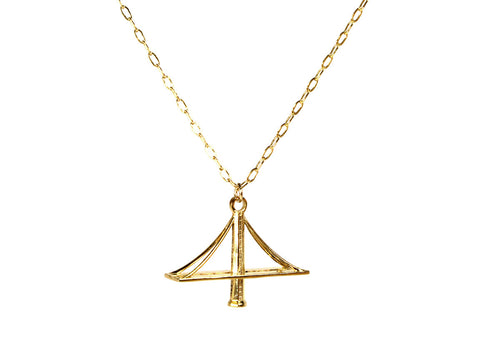 New Bay Bridge Necklace - Gold Plated Brass - Free For Mind
