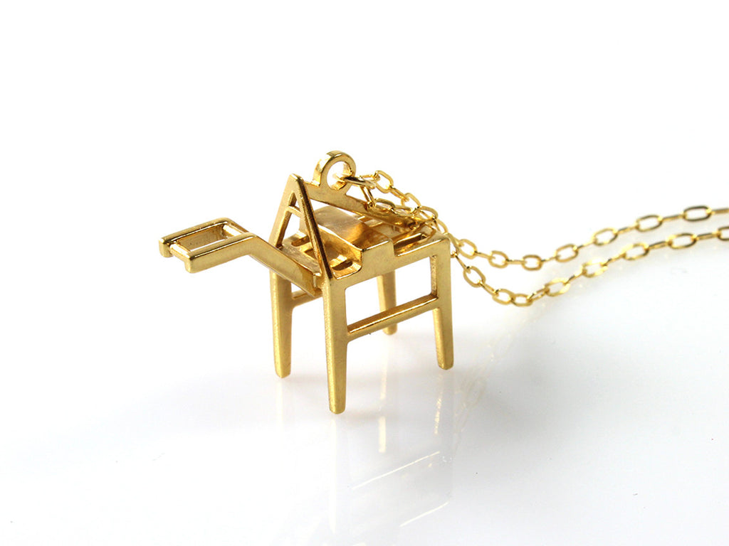 Shipping Crane Necklace - Gold Plated Brass - Free For Mind