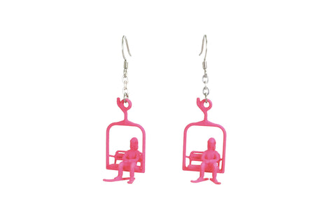 Ski Lift Earrings with Skier - Free For Mind