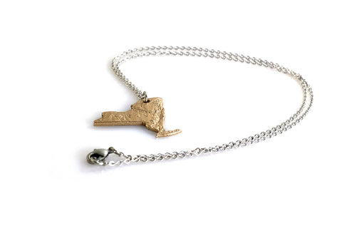 New York State Topography Necklace - Steel - Free For Mind