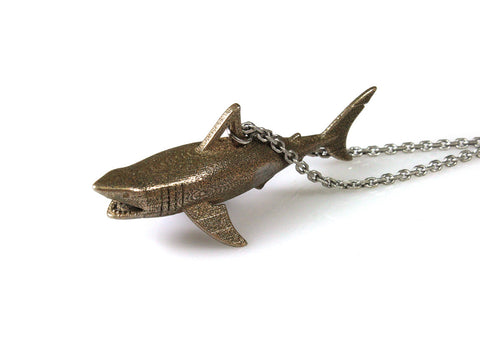Great White Shark Necklace - Steel - Free For Mind