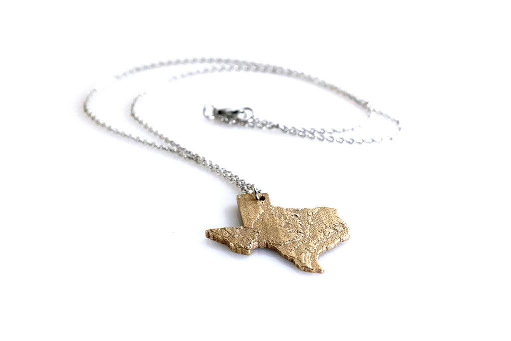 Texas Topography Necklace - Steel - Free For Mind