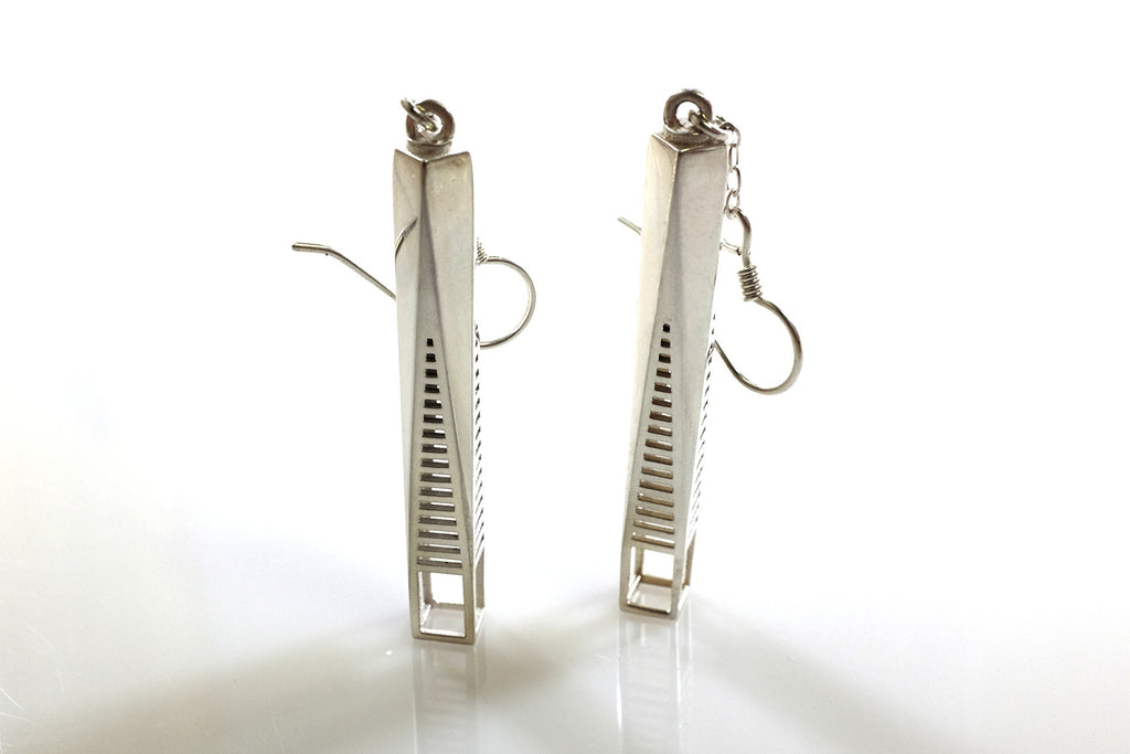 One World Trade-Inspired Earrings - Sterling Silver - Free For Mind