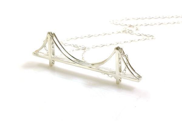 Golden Gate Bridge Necklace - Sterling Silver - Free For Mind - 1