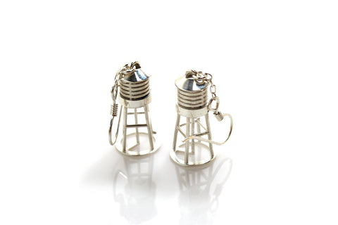 Water Tower Earrings - Sterling Silver - Free For Mind