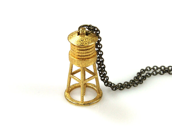 Water Tower Necklace - Steel - Free For Mind - 2