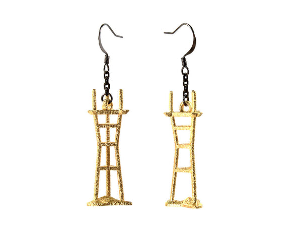 Sutro Tower Earrings - Steel - Free For Mind - 2