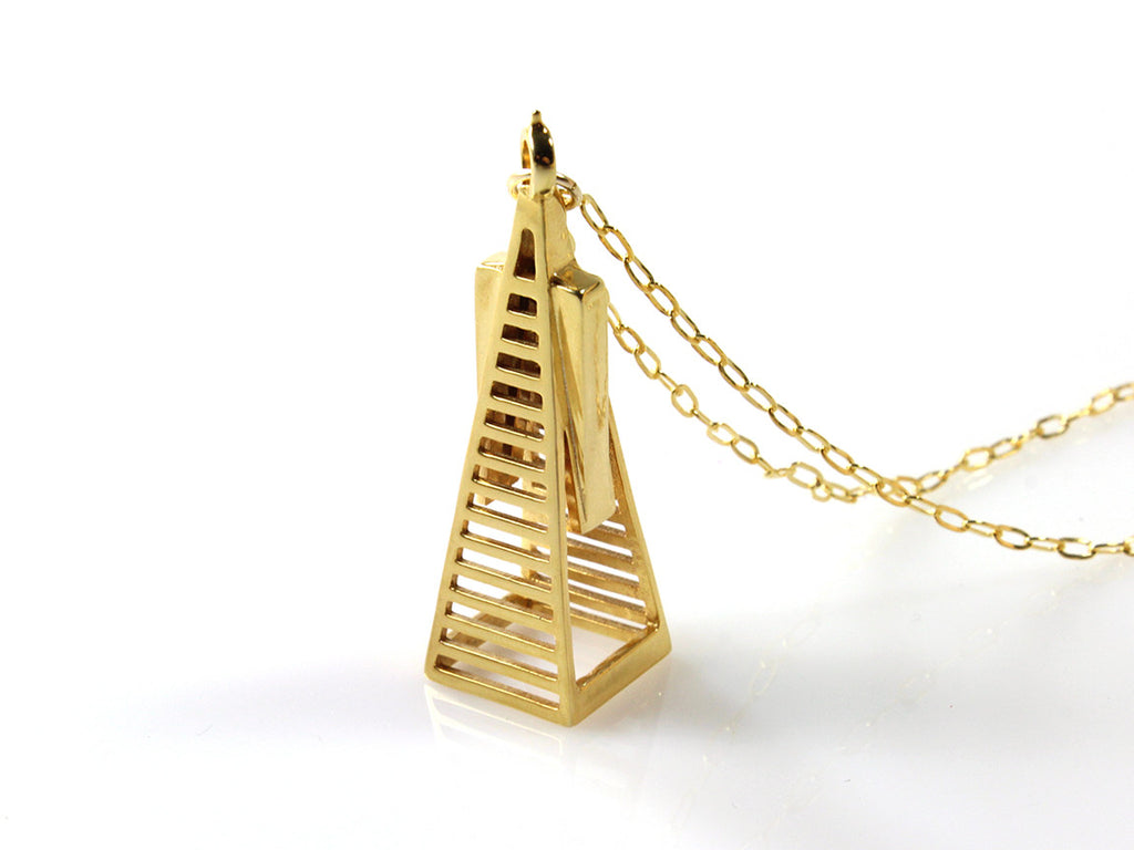 Transamerica Pyramid Necklace - Gold Plated Brass - Free For Mind