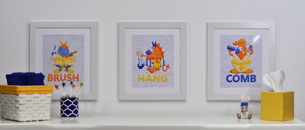 Set of Five Orange Monster Prints