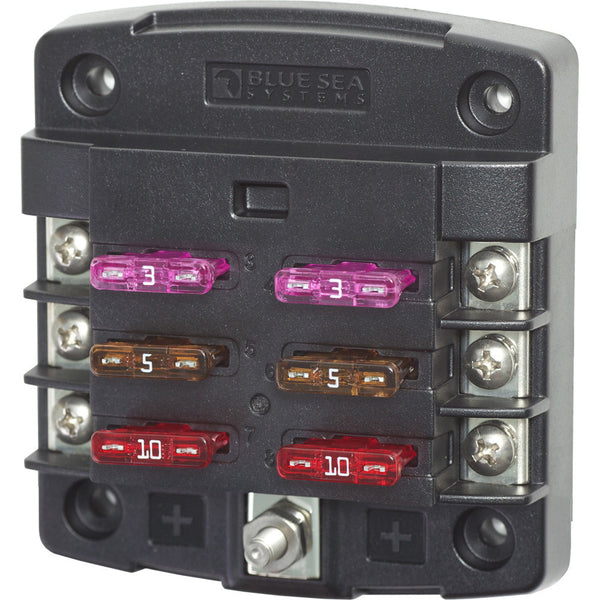 Blue Sea 5033 ST Blade Fuse Block w-out Cover - 6 Circuit w-out Negative Bus