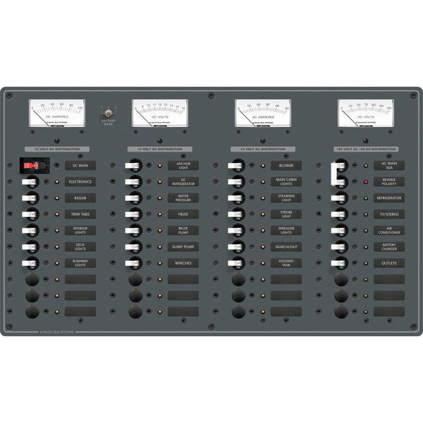 Blue Sea 8095 AC Main +8 Positions - DC Main +29 Positions Toggle Circuit Breaker Panel   (White Switches)