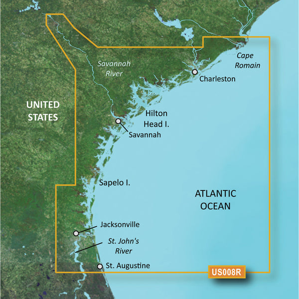 Garmin BlueChart g2 Vision HD - VUS008R - Charleston to Jacksonville - microSD-SD