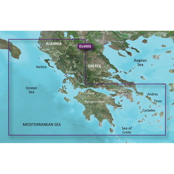 Garmin BlueChart g2 Vision HD - VEU490S - Greece West Coast & Athens - microSD-SD