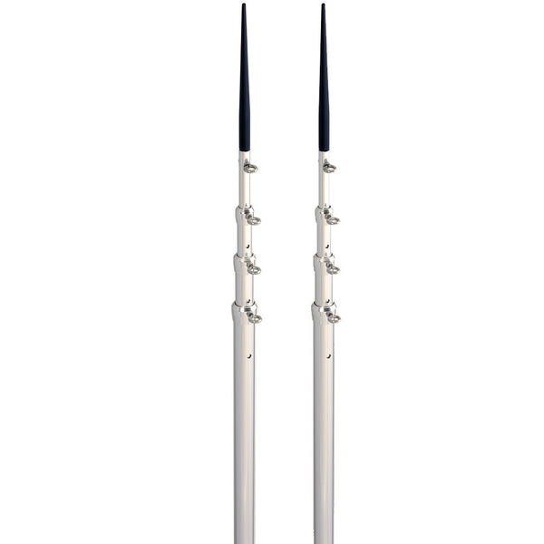 Lee's 16.5' Bright Silver Black Spike Telescopic Poles f-Sidewinder