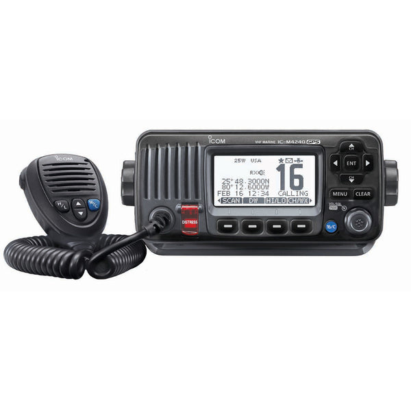 Icom M424G Fixed Mount VHF Marine Transceiver w-Built-In GPS - Black