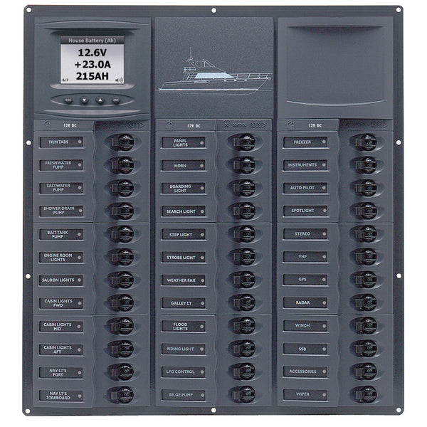 BEP Cruiser Series DC Circuit Breaker Panel w-Digital Meters 36SP DC12V
