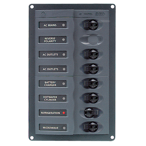 BEP AC Circuit Breaker Panel w-o Meters, RV 6Way AC Panel w-Double Pole Mains, Black