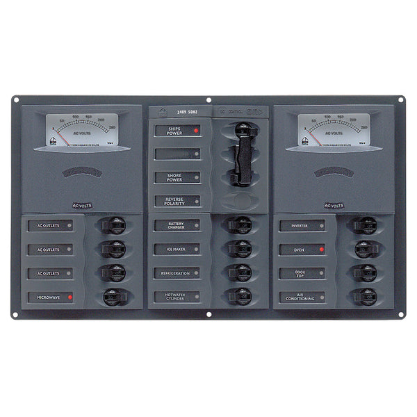 BEP AC Circuit Breaker Panel w-Analog Meters, 2SP 1DP AC230V