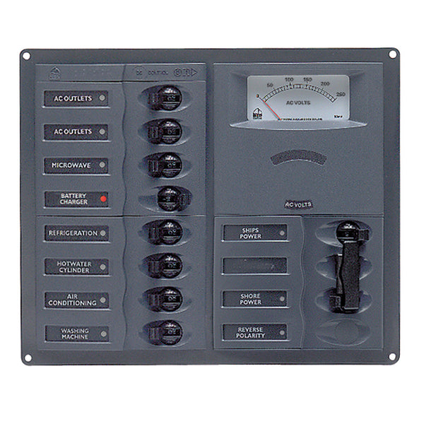 BEP AC Circuit Breaker Panel w-Analog Meters, 8SP 2DP AC230V Stainless Steel Vertical