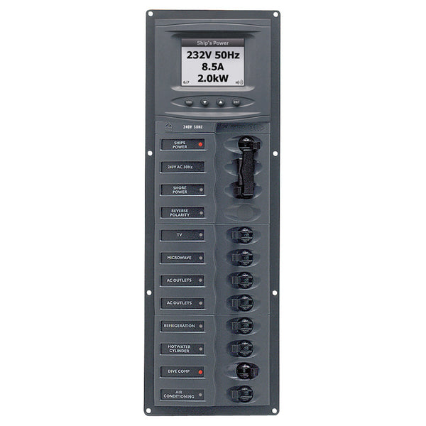 BEP AC Circuit Breaker Panel w-Digital Meters, 8SP 2DP AC230V ACSM Stainless Steel Vertical