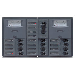 BEP AC Circuit Breaker Panel w-Analog Meters, 12SP 2DP AC230V Stainless Steel Horizonal