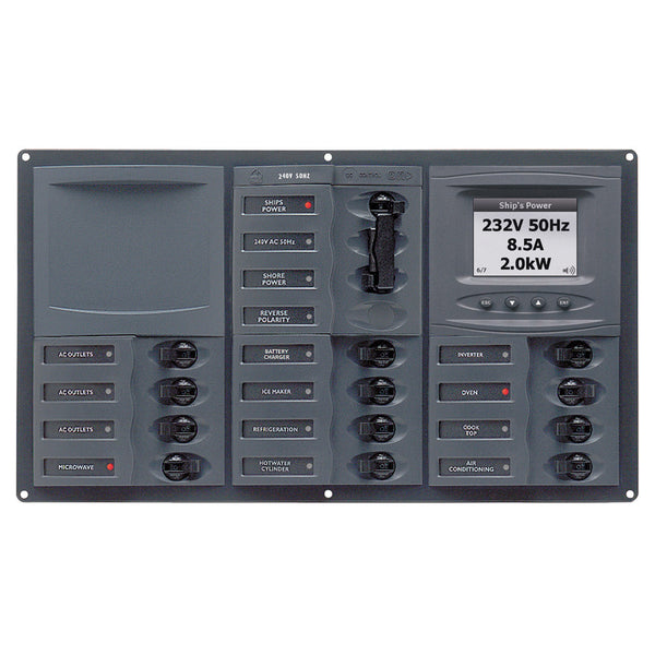 BEP AC Circuit Breaker Panel w-Digital Meters, 12SP 2DP AC230V ACSM Stainless Steel Horizontal