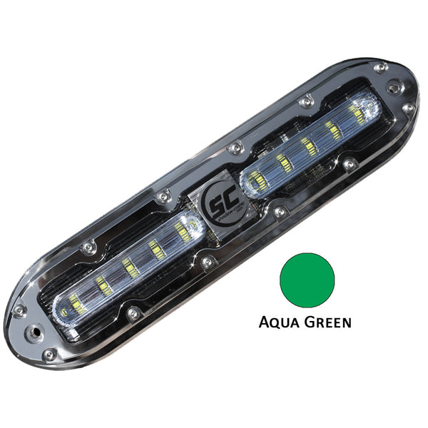 Shadow-Caster SCM-10 LED Underwater Light w-20' Cable - 316 SS Housing - Aqua Green