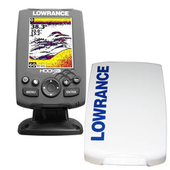 Lowrance HOOK-3x Fishfinder w-83-200 Transom Mount Transducer  Sun Cover
