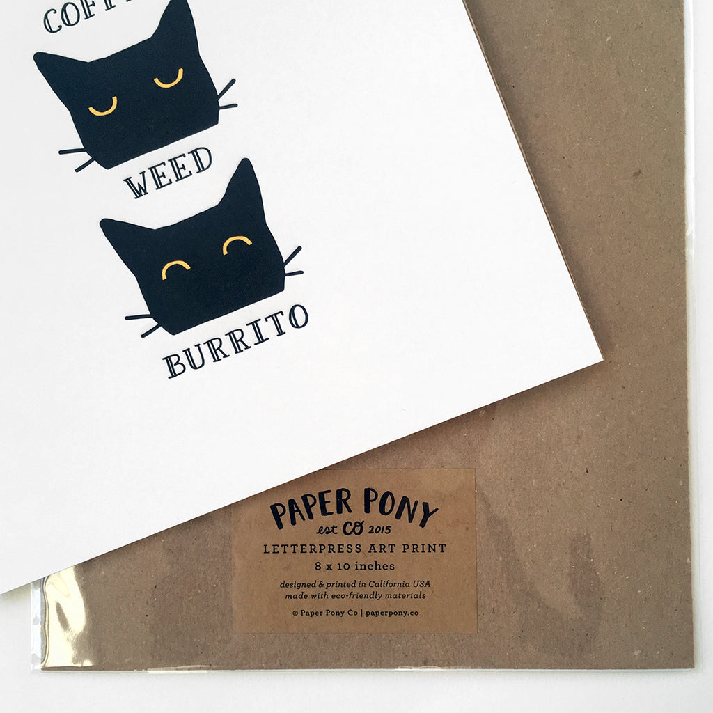 Coffee Weed Burrito - Letterpress Art Print, Art Prints - Paper Pony Co.