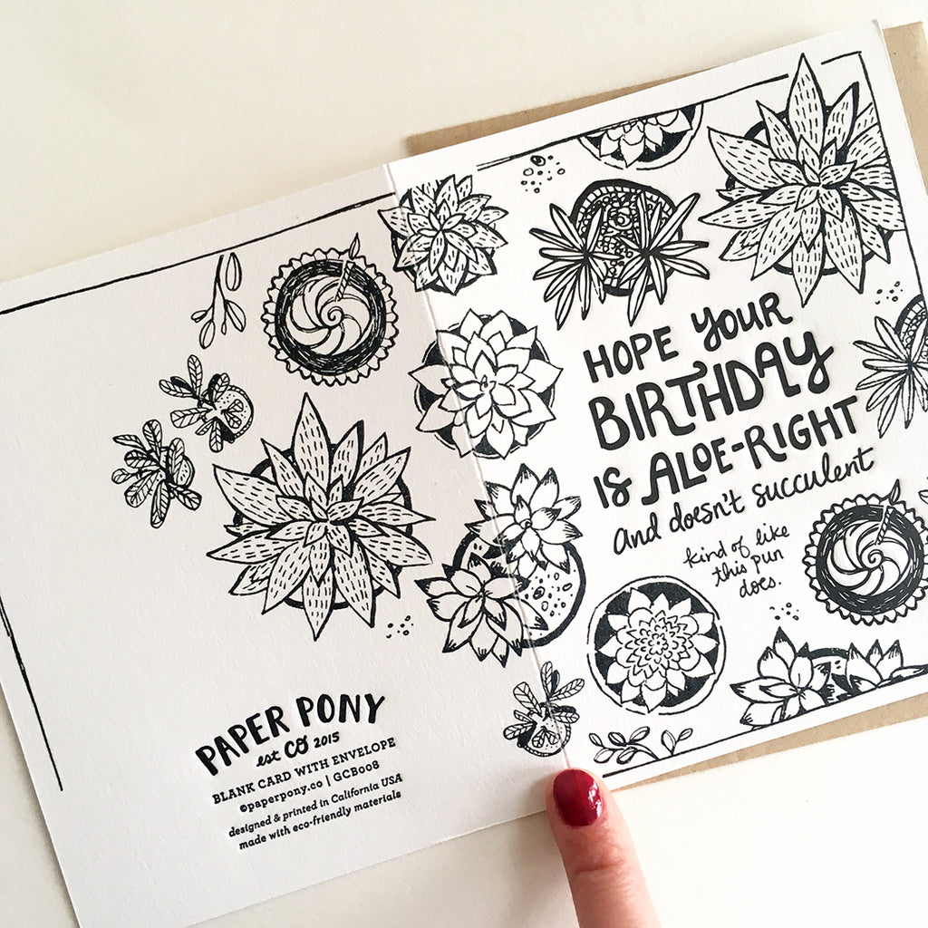 Succulent Birthday Card, Greeting Cards - Paper Pony Co.