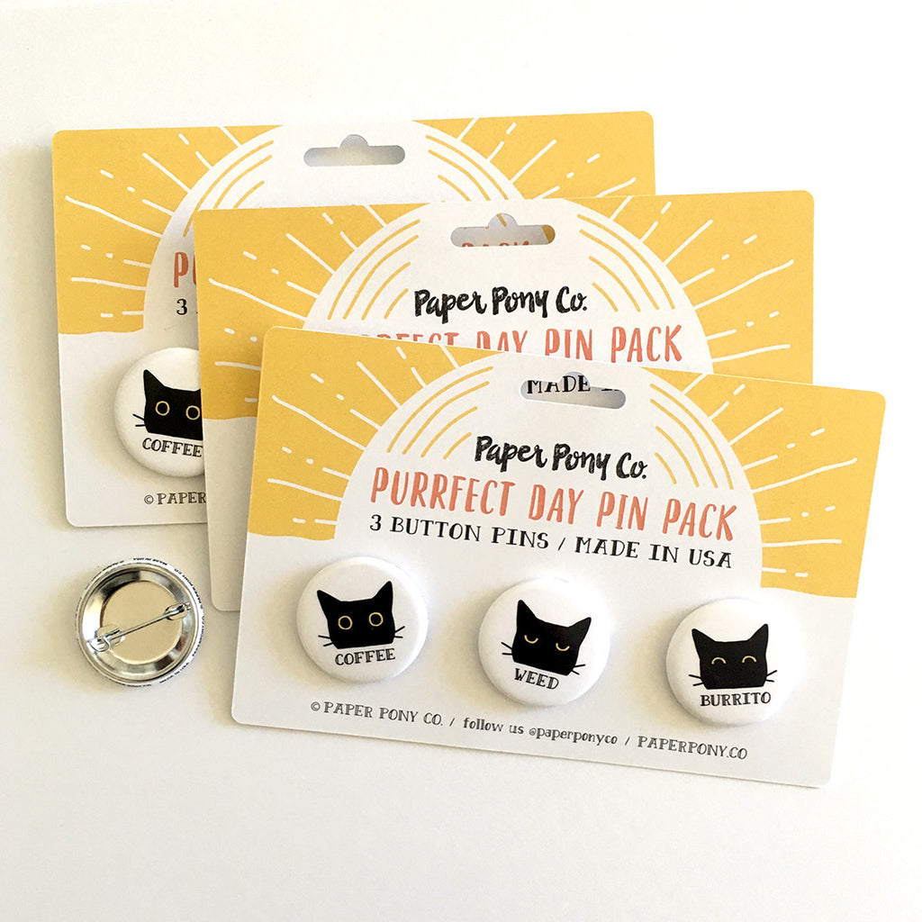 Purrfect Day Pin Pack, Button Pins - Paper Pony Co.